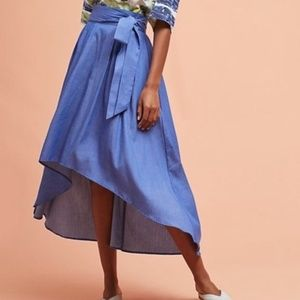 anthropologie // chambray tie waist midi skirt